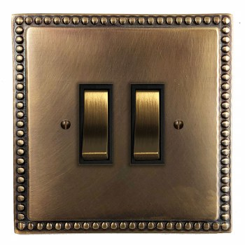 Regency Rocker Light Switch 2 Gang Hand Aged Brass