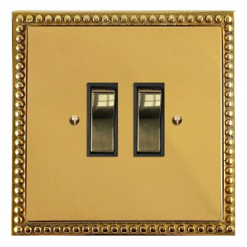 Regency Rocker Light Switch 2 Gang Polished Brass Unlacquered