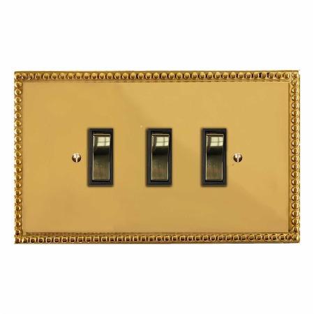 Regency Rocker Light Switch 3 Gang Polished Brass Unlacquered