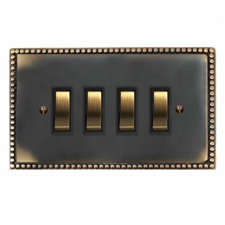 Regency Rocker Light Switch 4 Gang Dark Antique Relief