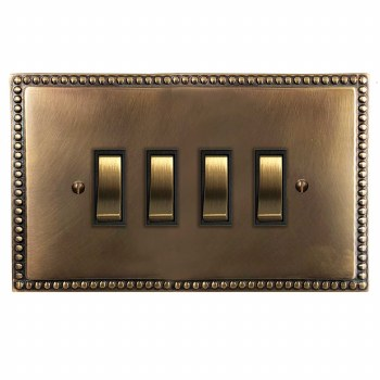 Regency Rocker Light Switch 4 Gang Hand Aged Brass