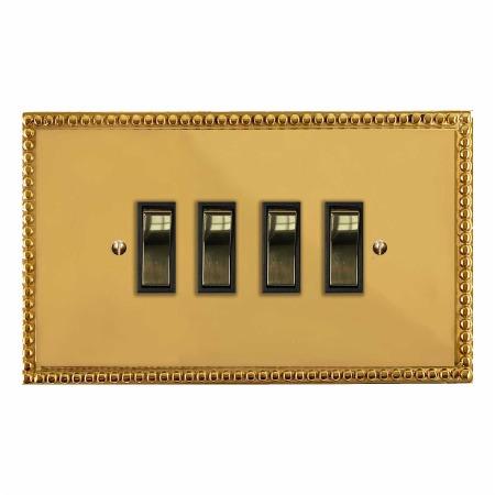 Regency Rocker Light Switch 4 Gang Polished Brass Unlacquered