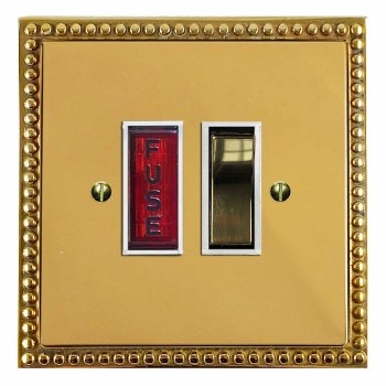 Regency Switched Fused Spur Illuminated Polished Brass Lacquered & White Trim