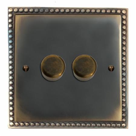 Regency Dimmer Switch 2 Gang Dark Antique Relief