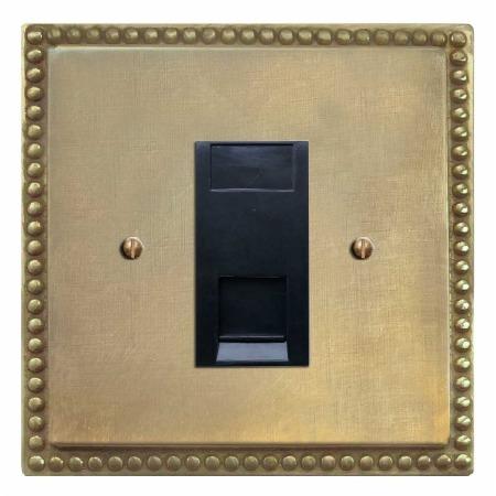 Regency Telephone Socket Secondary Antique Satin Brass