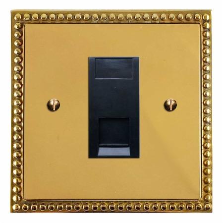 Regency Telephone Socket Secondary Polished Brass Unlacquered