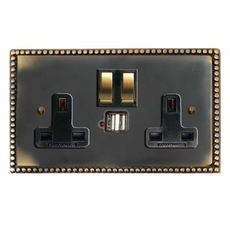 Regency Switched Socket 2 Gang USB Dark Antique Relief