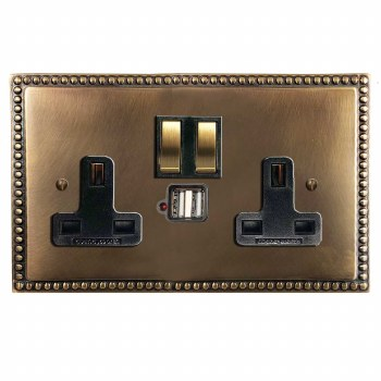 Regency Switched Socket 2 Gang USB Hand Aged Brass
