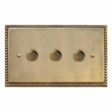 Regency Dimmer Switch 3 Gang Antique Satin Brass