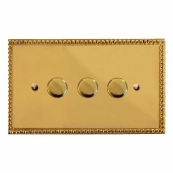 Regency Dimmer Switch 3 Gang Polished Brass Unlacquered