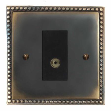 Regency TV Socket Outlet Dark Antique Relief