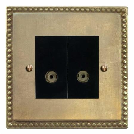 Regency TV Socket Outlet 2 Gang Antique Satin Brass