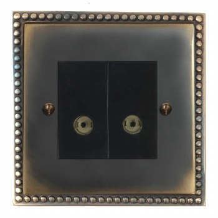 Regency TV Socket Outlet 2 Gang Dark Antique Relief