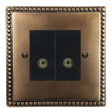 Regency TV Socket Outlet 2 Gang Hand Aged Brass