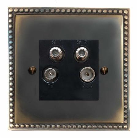 Regency Quadplex TV Socket Dark Antique Relief