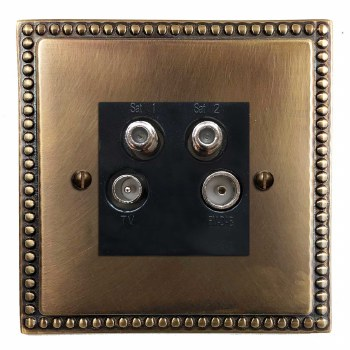 Regency Quadplex TV Socket Hand Aged Brass