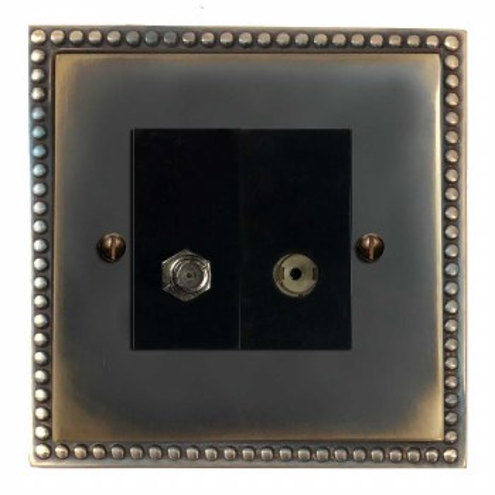 Regency Satellite & TV Socket Outlet Dark Antique Relief