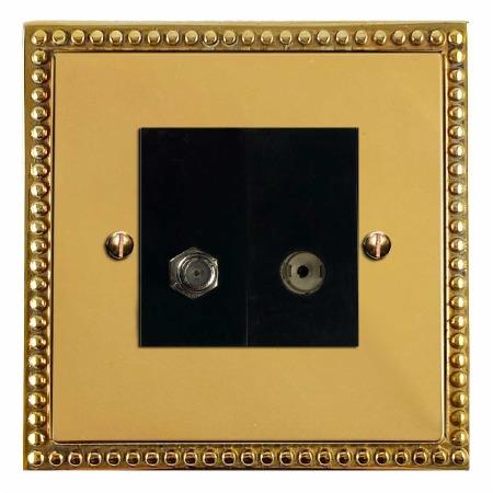 Regency Satellite & TV Socket Outlet Polished Brass Unlacquered