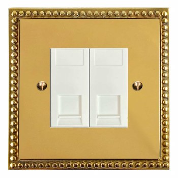 Regency Telephone Socket Secondary 2 Gang Polished Brass Lacquered & White Trim