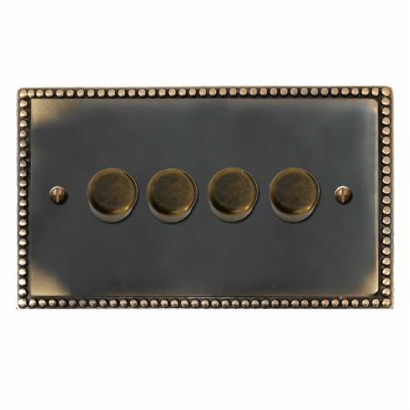 Regency Dimmer Switch 4 Gang Dark Antique Relief