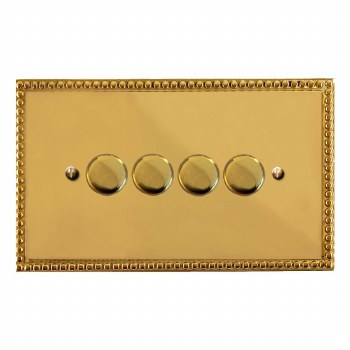 Regency Dimmer Switch 4 Gang Polished Brass Unlacquered