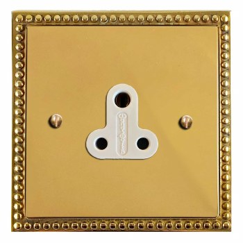 Regency Lighting Socket Round Pin 5A Polished Brass Lacquered & White Trim