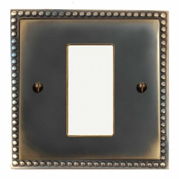 Regency Plate for Modular Electrical Components 50x25mm Dark Antique Relief