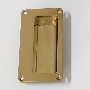 Aston Flush Pull Handle 114mm Polished Brass Unlacquered