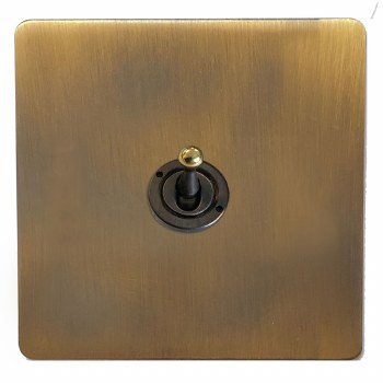 Victorian Dolly Switch 1 Gang Antique Brass Lacquered