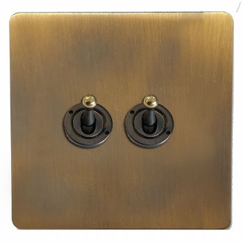 Victorian Dolly Switch 2 Gang Antique Brass Lacquered