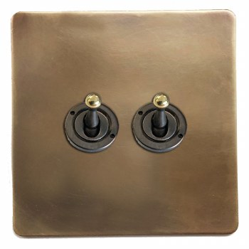 Victorian Dolly Switch 2 Gang Hand Aged Brass
