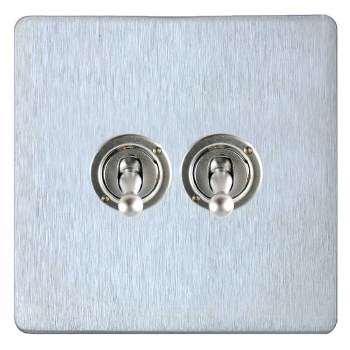 Victorian Dolly Switch 2 Gang Satin Chrome