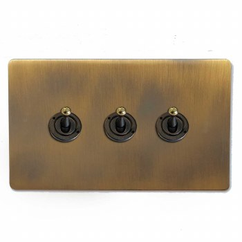 Victorian Dolly Switch 3 Gang Antique Brass Lacquered