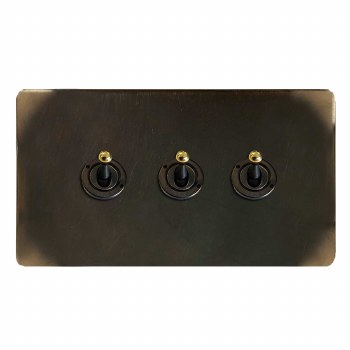 Victorian Dolly Switch 3 Gang Dark Antique Relief