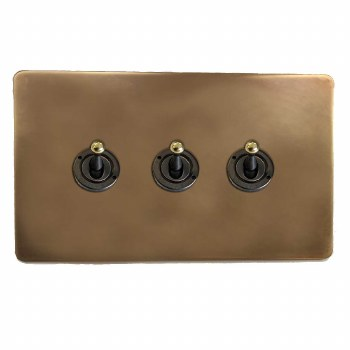 Victorian Dolly Switch 3 Gang Hand Aged Brass