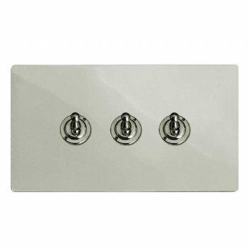 Victorian Dolly Switch 3 Gang Polished Nickel