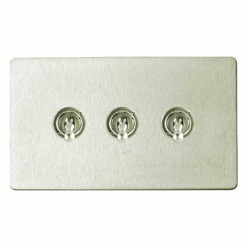 Victorian Dolly Switch 3 Gang Satin Nickel