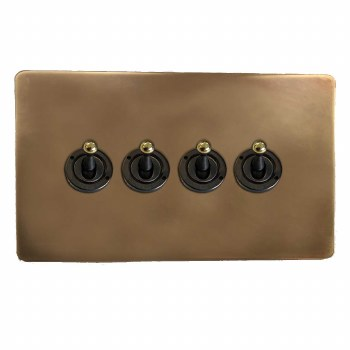 Victorian Dolly Switch 4 Gang Hand Aged Brass