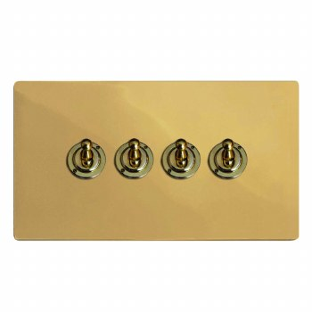 Victorian Dolly Switch 4 Gang Polished Brass Lacquered