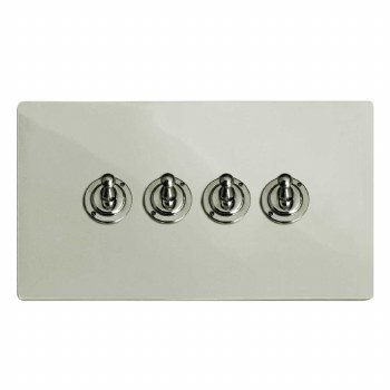 Victorian Dolly Switch 4 Gang Polished Nickel