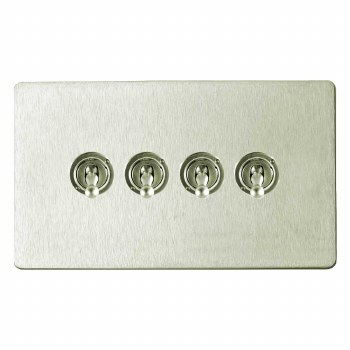 Victorian Dolly Switch 4 Gang Satin Nickel