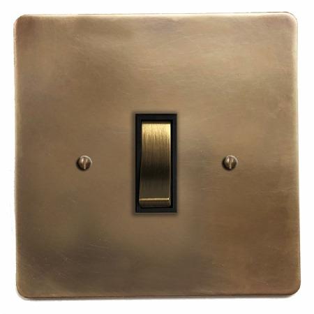 Victorian Rocker Light Switch 1 Gang Hand Aged Brass