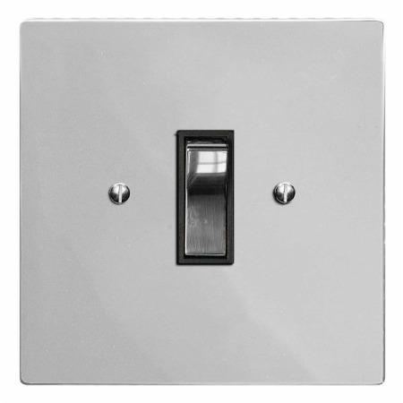 Victorian Rocker Light Switch 1 Gang Polished Chrome & Black Trim