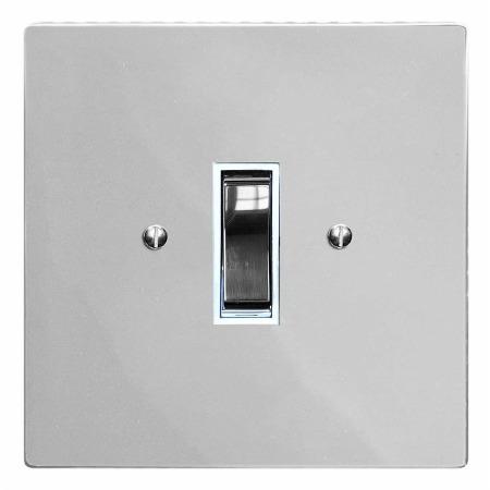 Victorian Rocker Light Switch 1 Gang Polished Chrome & White Trim