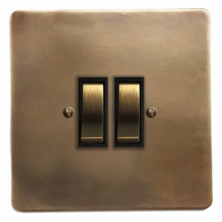 Victorian Rocker Light Switch 2 Gang Hand Aged Brass