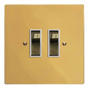 Victorian Rocker Light Switch 2 Gang Polished Brass Lacquered & White Trim