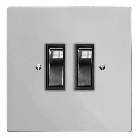 Victorian Rocker Light Switch 2 Gang Polished Chrome & Black Trim