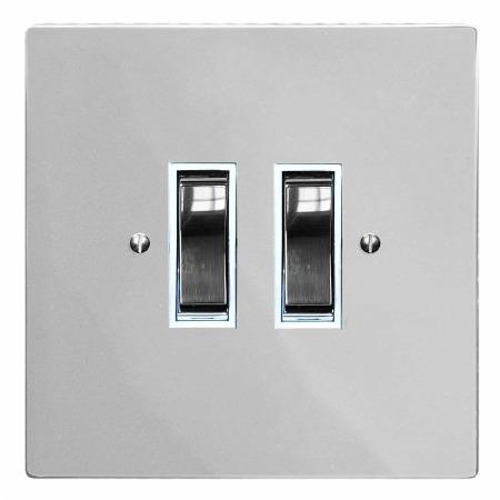 Victorian Rocker Light Switch 2 Gang Polished Chrome & White Trim