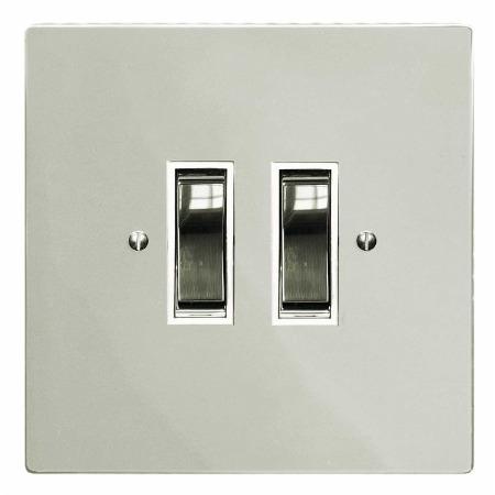 Victorian Rocker Light Switch 2 Gang Polished Nickel