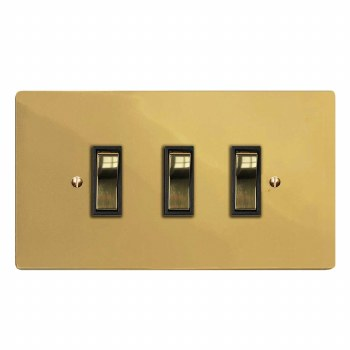 Victorian Rocker Light Switch 3 Gang Polished Brass Lacquered & Black Trim